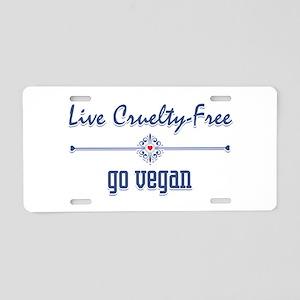 Live Cruelty Free, Go Vegan Aluminum License Plate