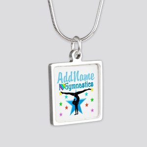GYMNAST POWER Silver Square Necklace