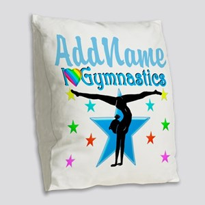 GYMNAST POWER Burlap Throw Pillow