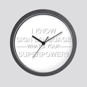 I know sign language (white) Wall Clock