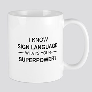 I know Sign Language (black) Mugs