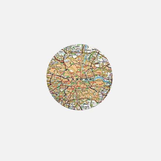 Map of London England Mini Button