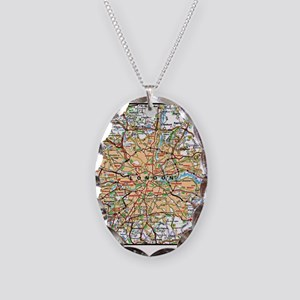 Map of London England Necklace Oval Charm