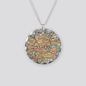 Map of London England Necklace Circle Charm