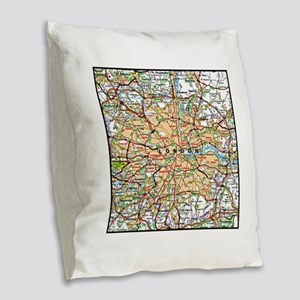 Map of London England Burlap Throw Pillow