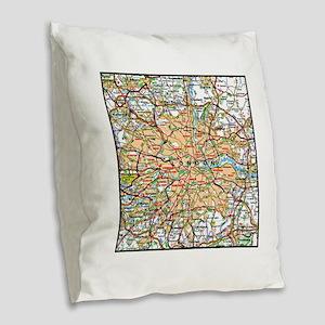 Map of London England Burlap Throw Pillow