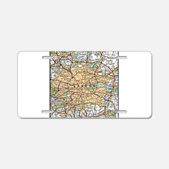 Map of London England Aluminum License Plate