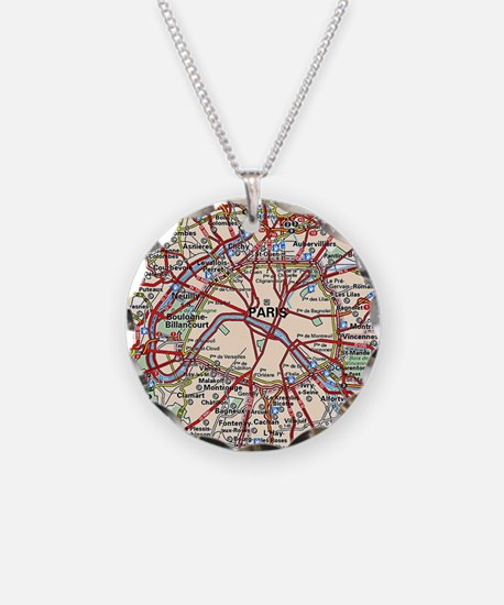 Map of Paris France Necklace
