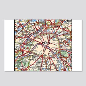 Map of Paris France Postcards (Package of 8)
