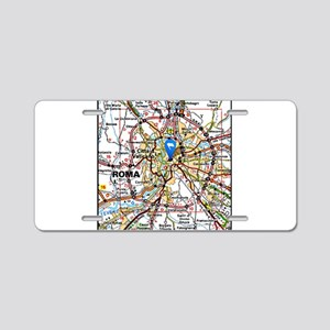 Map of Rome Italy Aluminum License Plate
