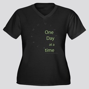 One Day at a Time Women's Plus Size V-Neck Dark T-