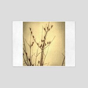 modern fall autumn zen tree birds 5'x7'Area Rug