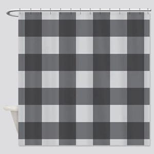 Gingham Check Gray Shower Curtain
