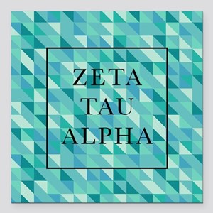 "Zeta Tau Alpha Geometric Square Car Magnet 3"" x 3"""