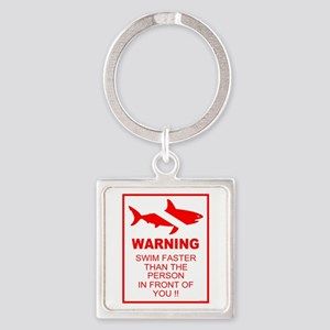 shark warning back copy Keychains