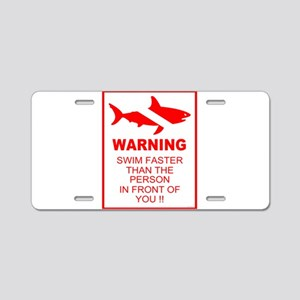 shark warning back copy Aluminum License Plate