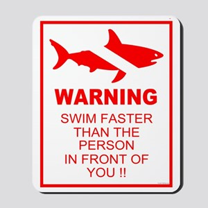 shark warning back copy Mousepad