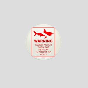 shark warning back copy Mini Button