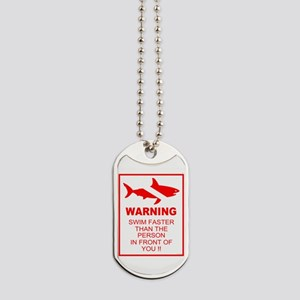 shark warning back copy Dog Tags