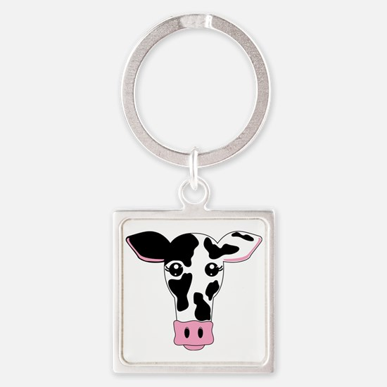 Sweet Cow Face Design Square Keychain Keychains