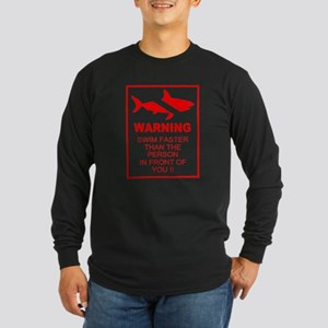 shark warning back copy Long Sleeve T-Shirt