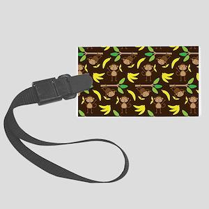 Monkeys Bananas Brown Large Luggage Tag