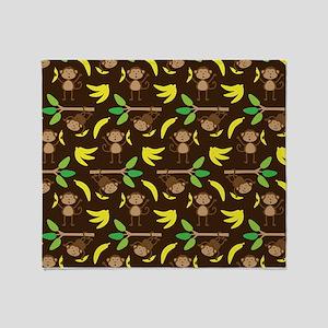 Monkeys Bananas Brown Throw Blanket