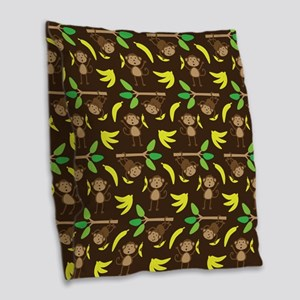 Monkeys Bananas Brown Burlap Throw Pillow