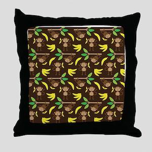 Monkeys Bananas Brown Throw Pillow