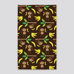 Monkeys Bananas Brown 3'x5' Area Rug