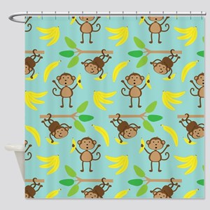 Monkeys Bananas Aqua Shower Curtain