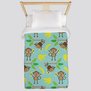 Monkeys Bananas Aqua Twin Duvet