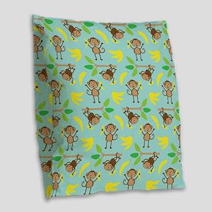 Monkeys Bananas Aqua Burlap Throw Pillow