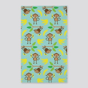 Monkeys Bananas Aqua 3'x5' Area Rug