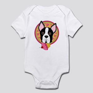 Boston Terrier With Cupcake Infant Body Suit