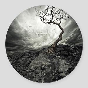 Dark Tree Round Car Magnet