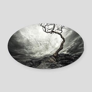 Dark Tree Oval Car Magnet