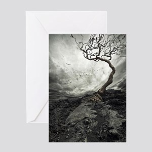 Dark Tree Greeting Cards