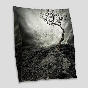 Dark Tree Burlap Throw Pillow