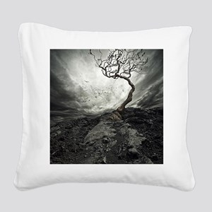Dark Tree Square Canvas Pillow