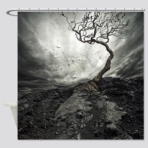 Dark Tree Shower Curtain