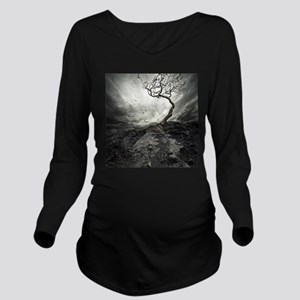 Dark Tree Long Sleeve Maternity T-Shirt