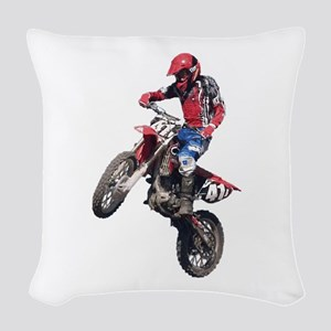 Red Dirt Bike Woven Throw Pillow