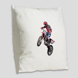 Red Dirt Bike Burlap Throw Pillow