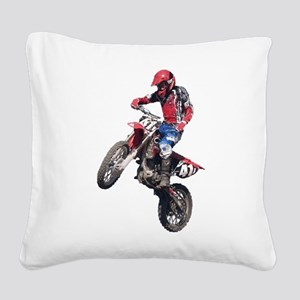 Red Dirt Bike Square Canvas Pillow