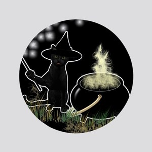"""Black Cat Witch 3.5"""" Button"""