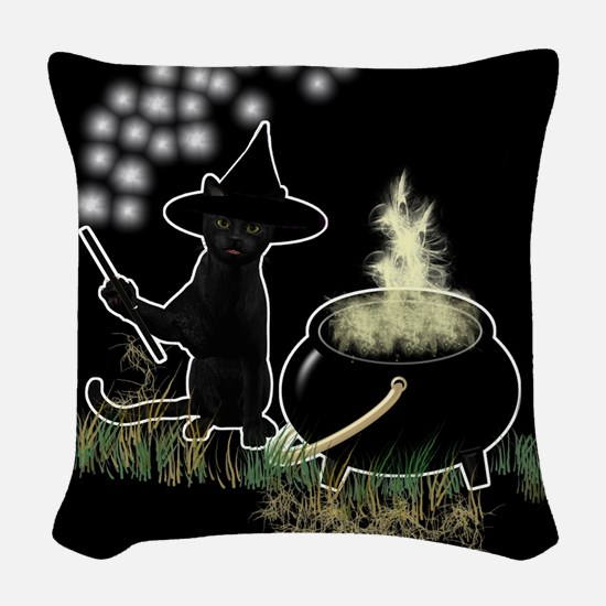 Black Cat Witch Woven Throw Pillow