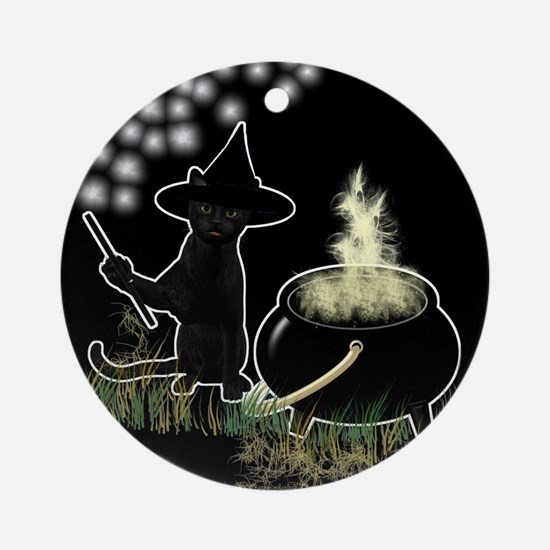 Black Cat Witch Ornament (Round)