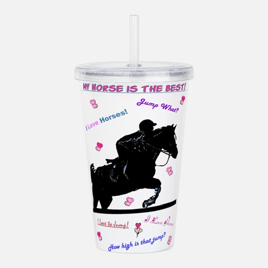 Pastel I Love Horses! Acrylic Double-wall Tumbler