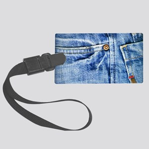 Denim Blue Jeans Large Luggage Tag